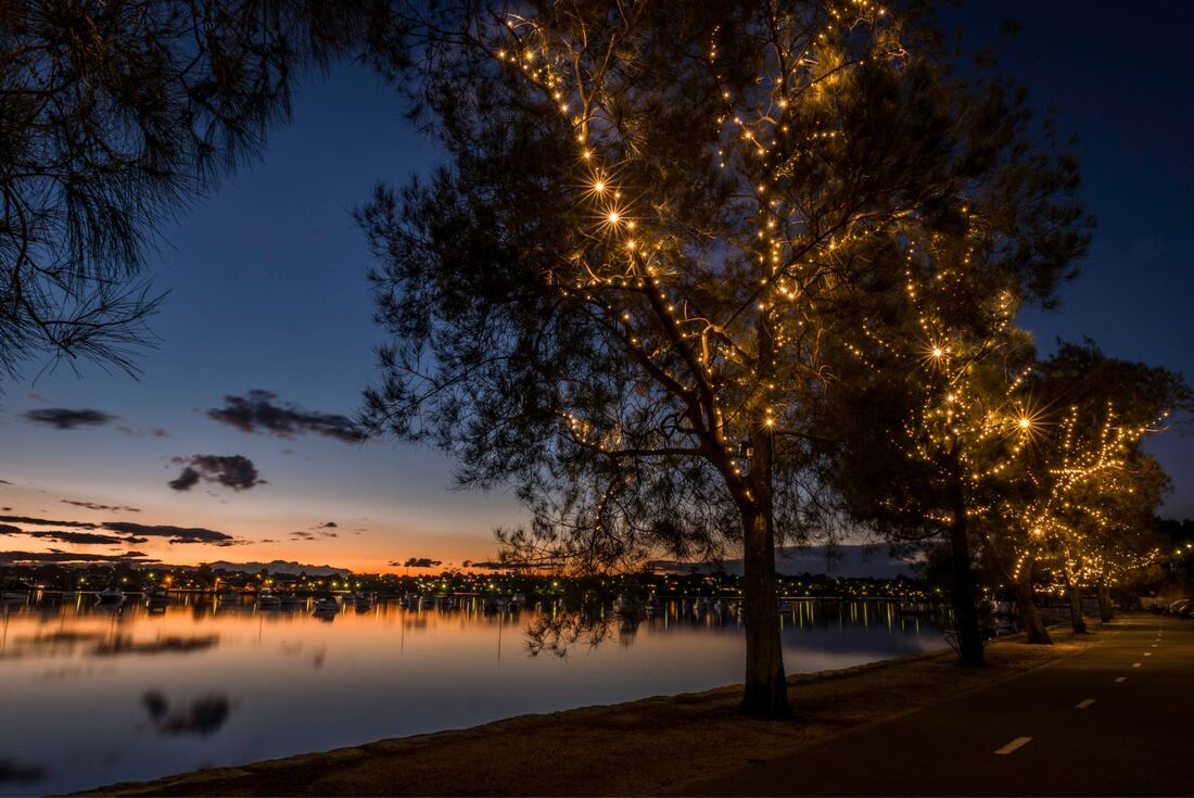 Christmas lights on the shoreline of Parramatta river